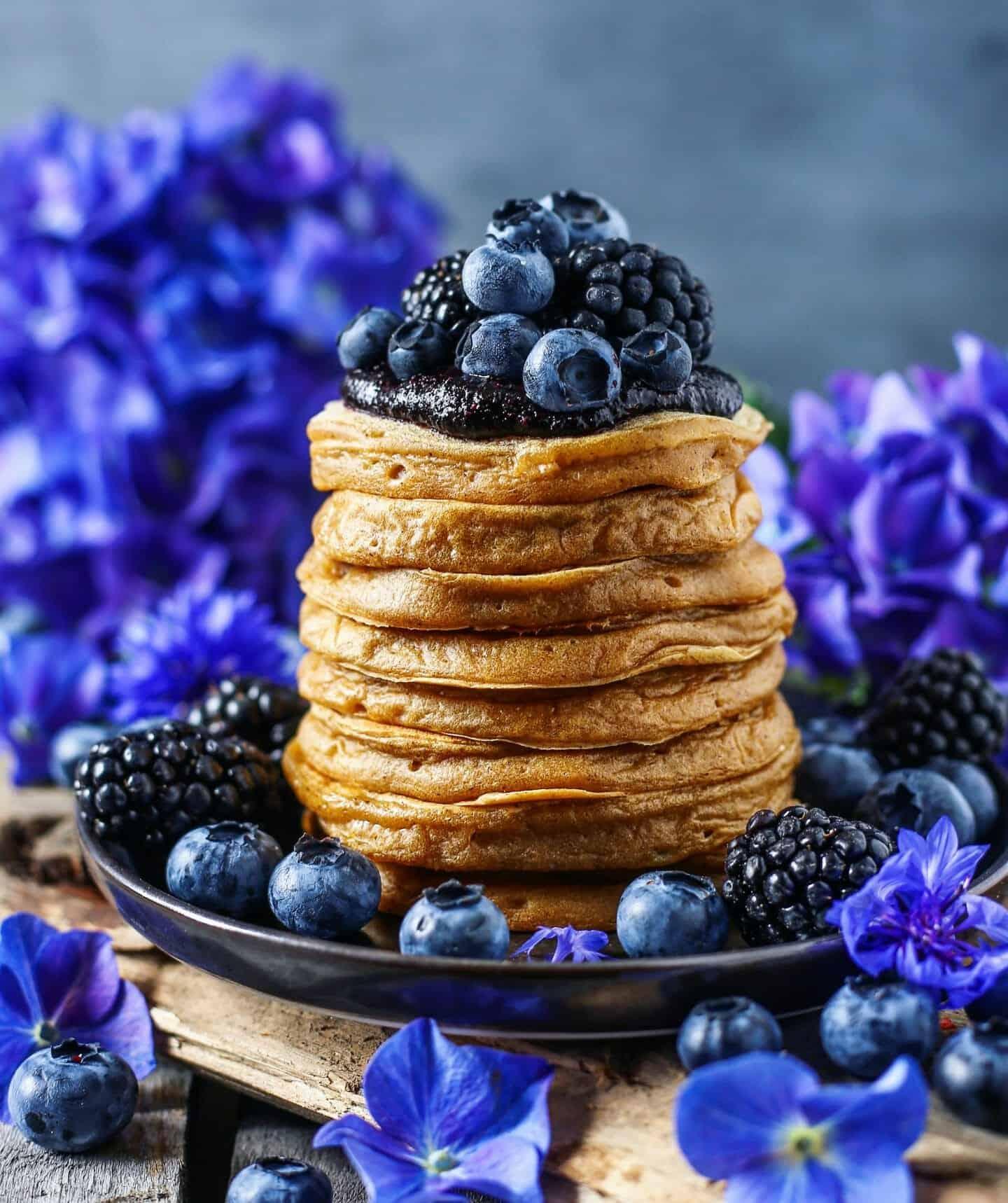 Vegan Vanilla Cinnamon Pancakes With Blueberry Blackberry