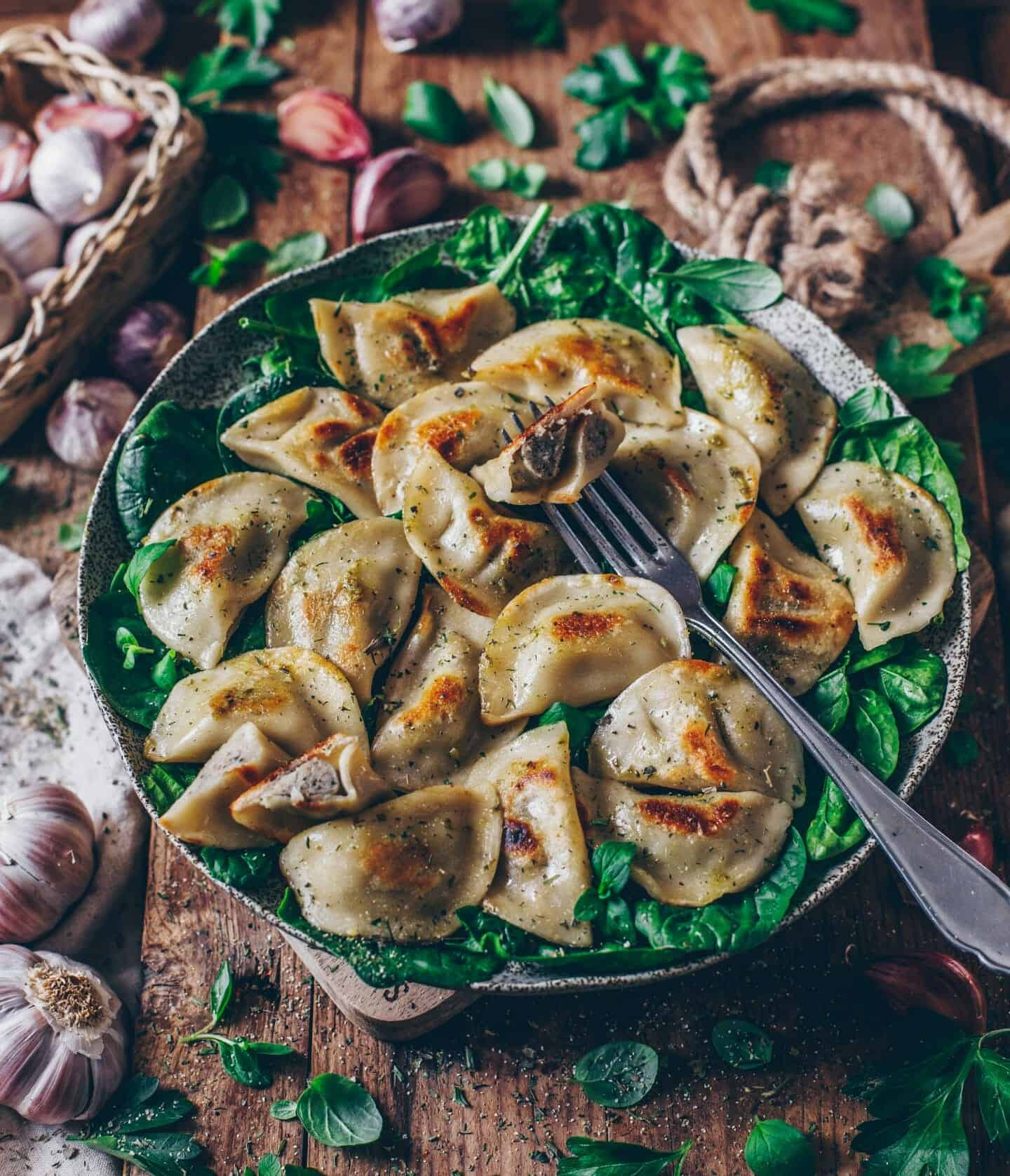 Vegan Pierogi with Mushroom Filling (polish pasta dumplings)