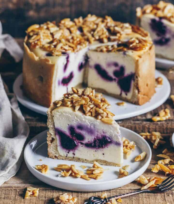 vegan blueberry cheesecake with almond brittle