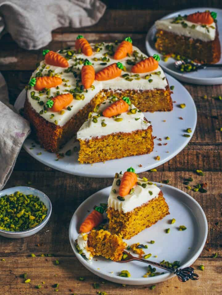 Carrot Cake with Cream Cheese Frosting, Pistachios and Marzipan Carrots