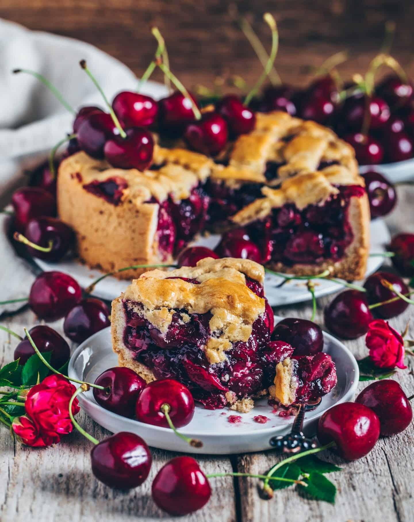 Kirsch Kuchen Mit Saftiger Fullung Vegan Einfach Bianca Zapatka