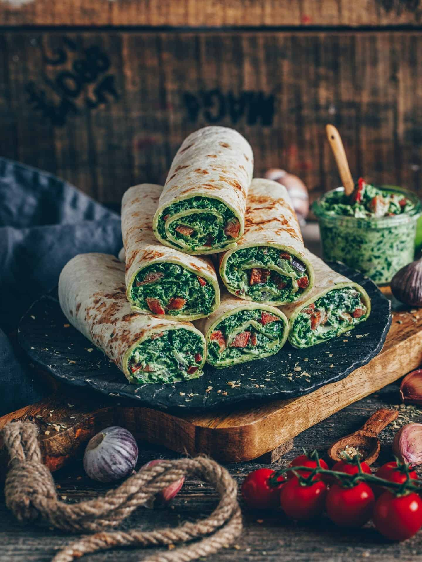 Spinach wraps (tortillas) with cashew cheese. This easy and quick recipe is vegan, gluten-free, dairy-free, healthy and delicious.