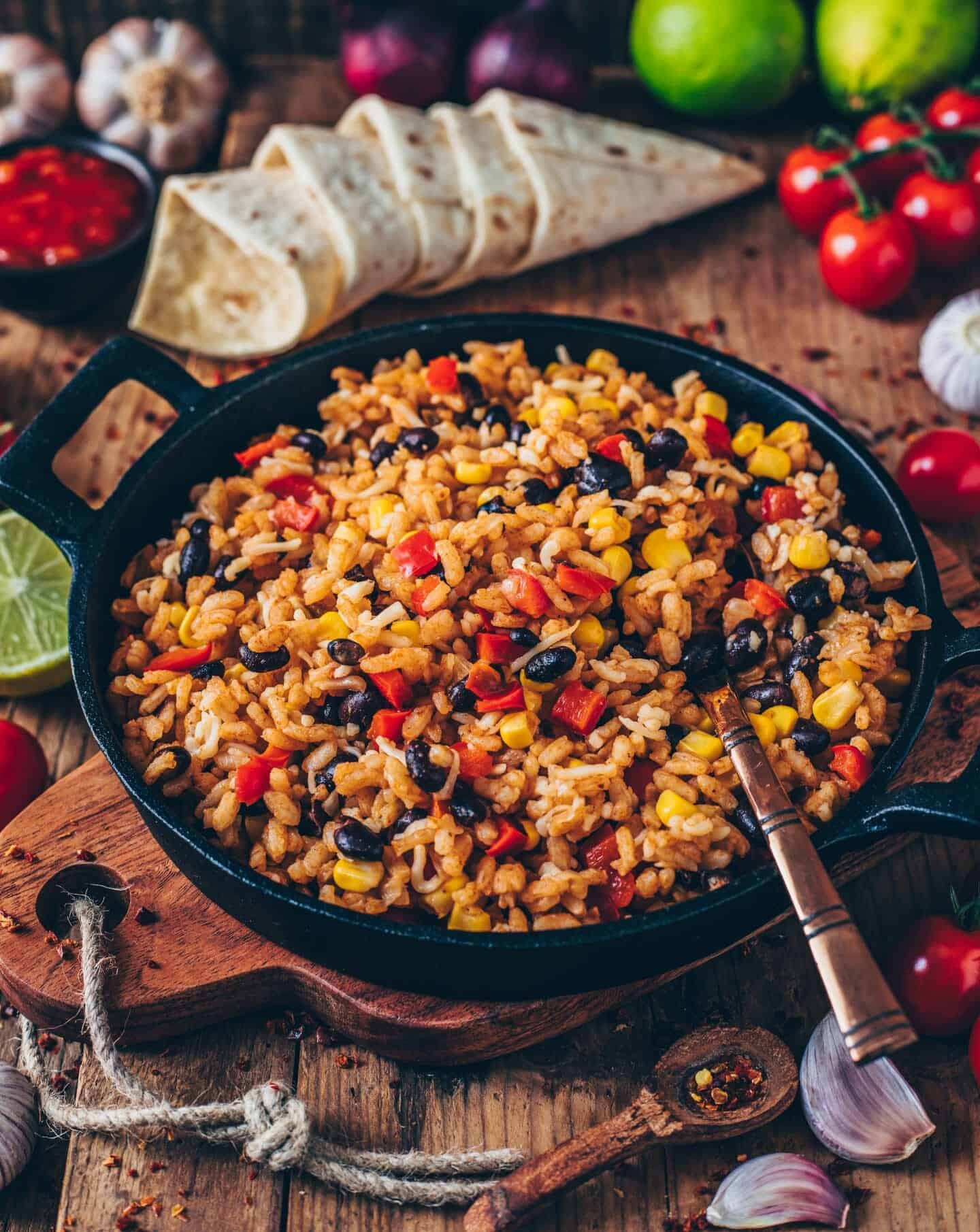 mexican rice with beans, corn, pepper