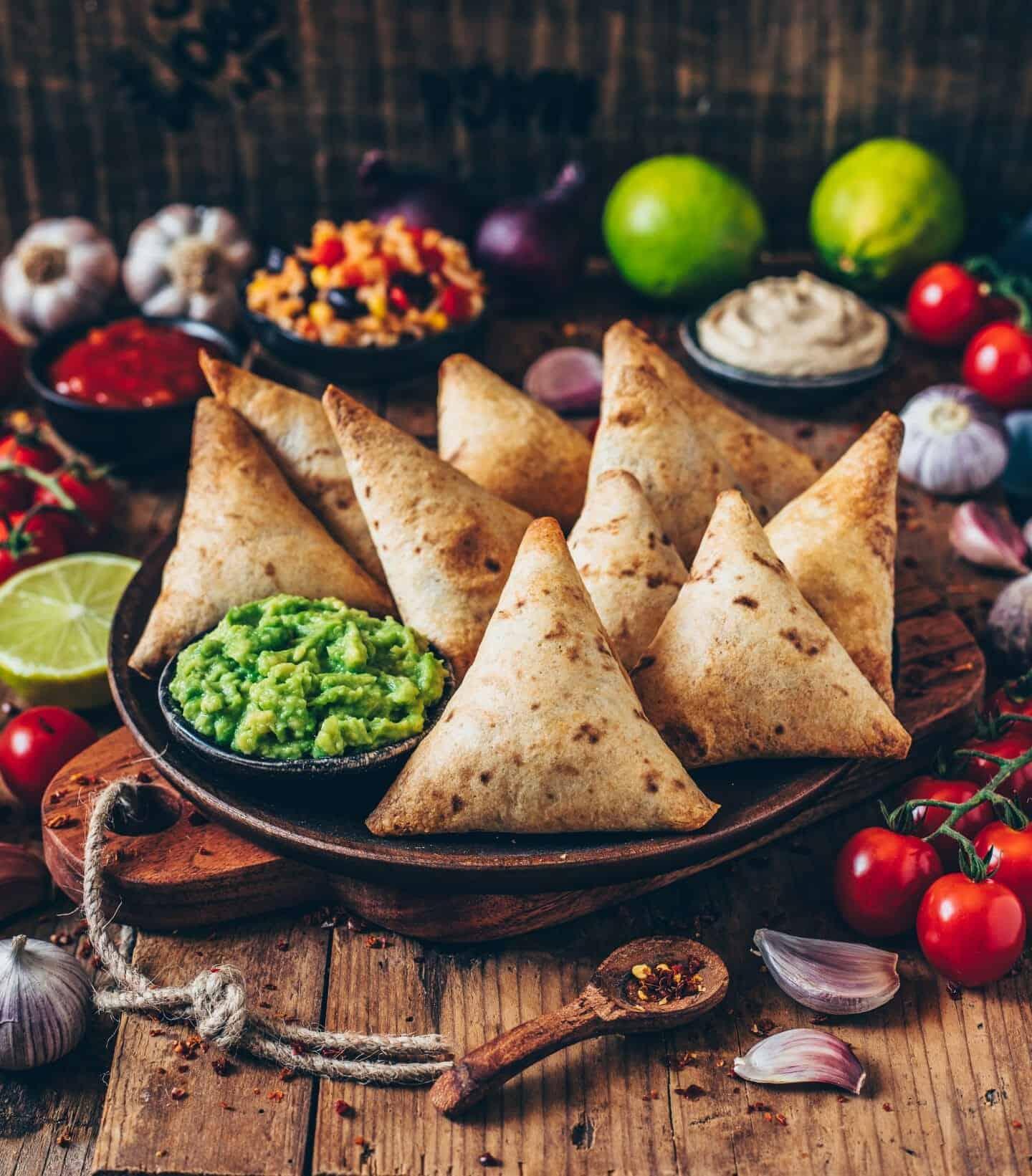 vegan burrito samosas with guacamole