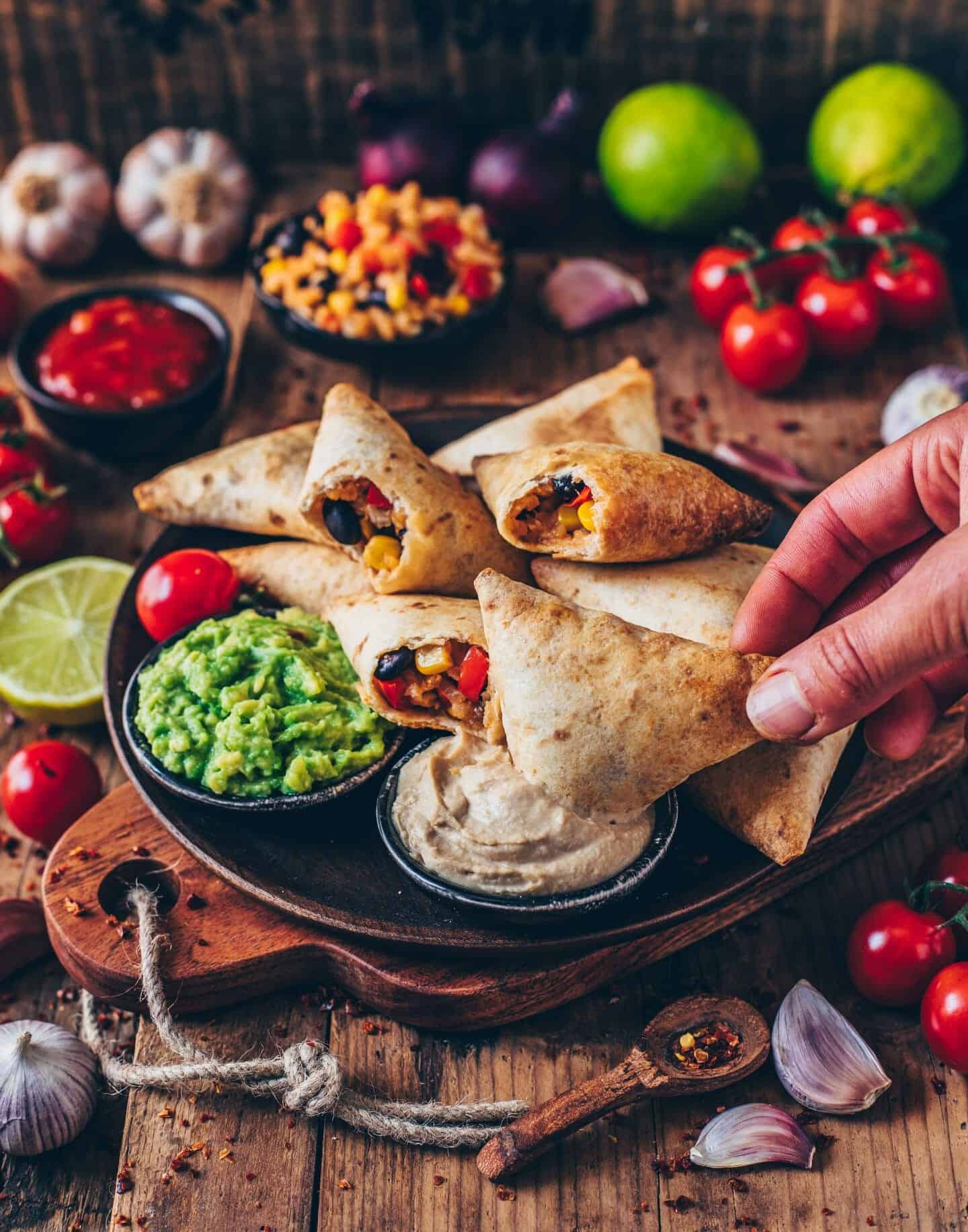 vegan burrito samosas with guacamole and cashew dip