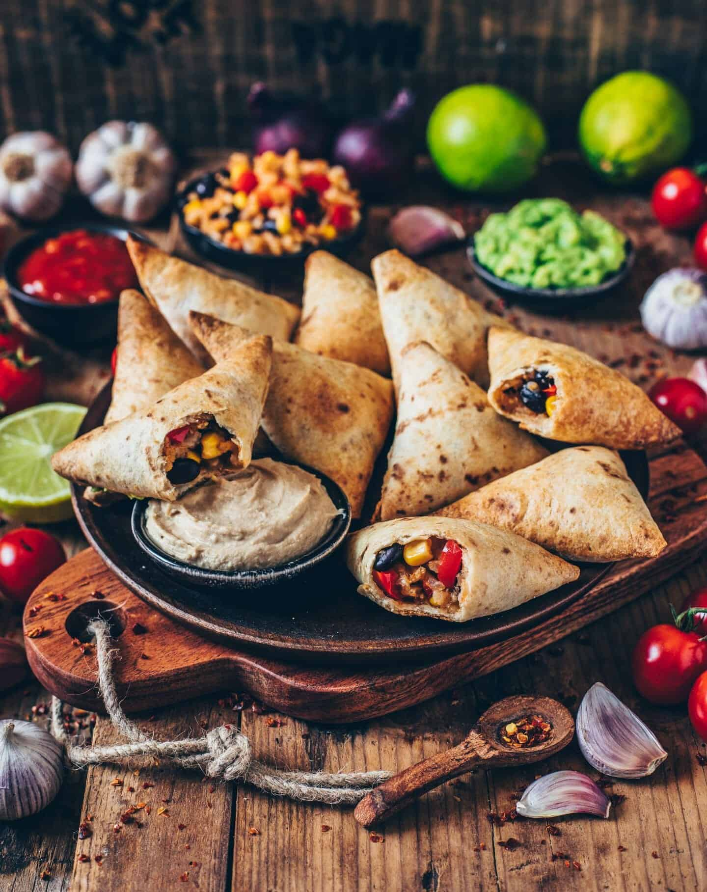 vegan burrito samosas with cashew dip