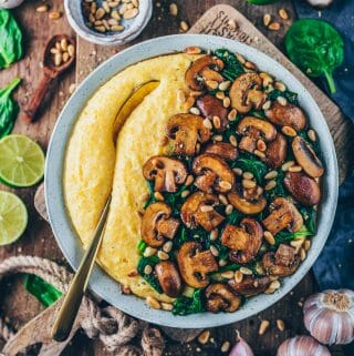 creamy vegan polenta with mushrooms and spinach - healthy, gluten-free, easy recipe