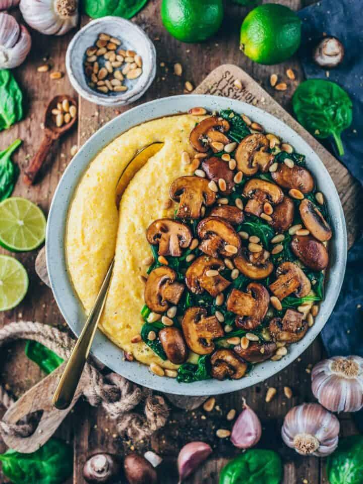 creamy vegan polenta with mushrooms and spinach - healthy, gluten-free, easy recipe