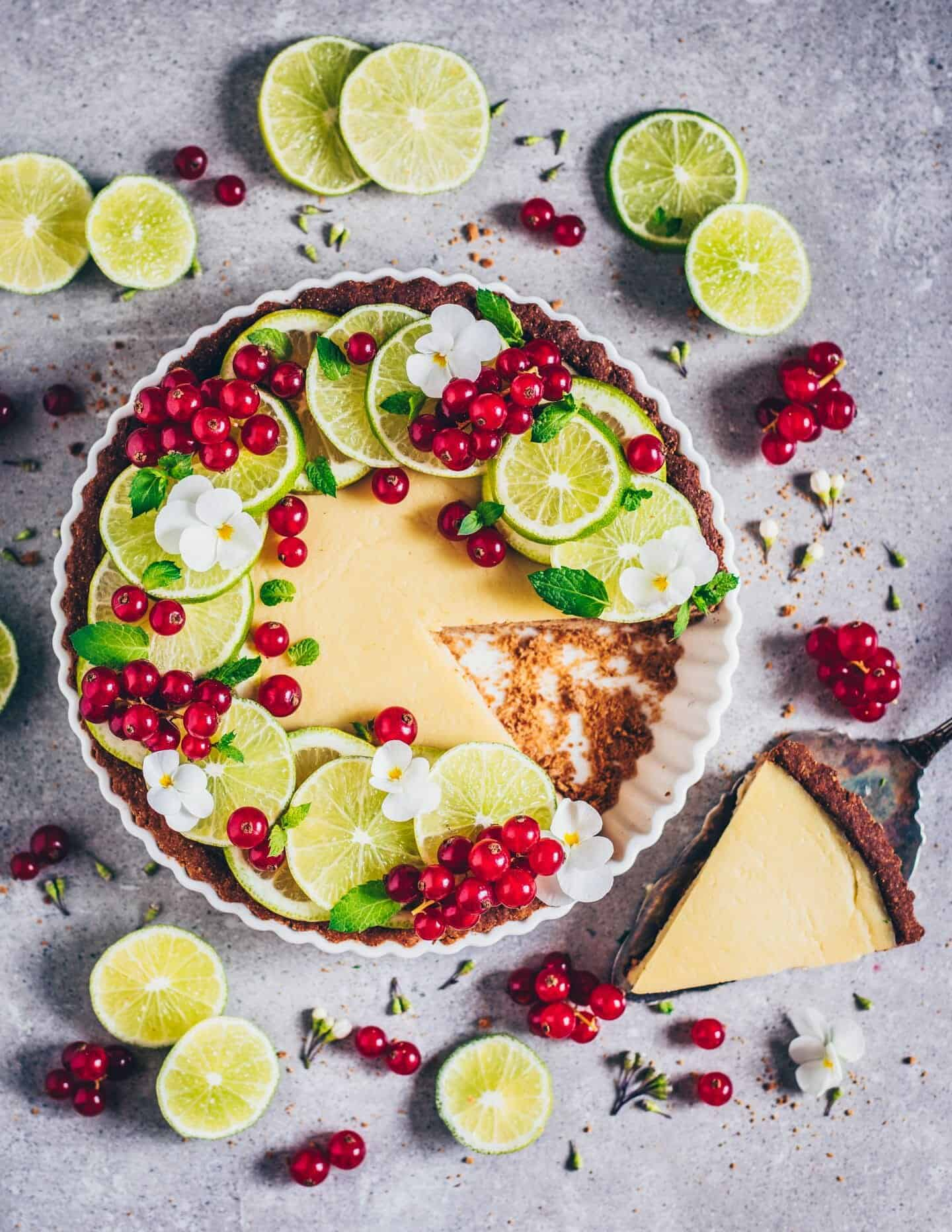 vegan key lime pie with red currants