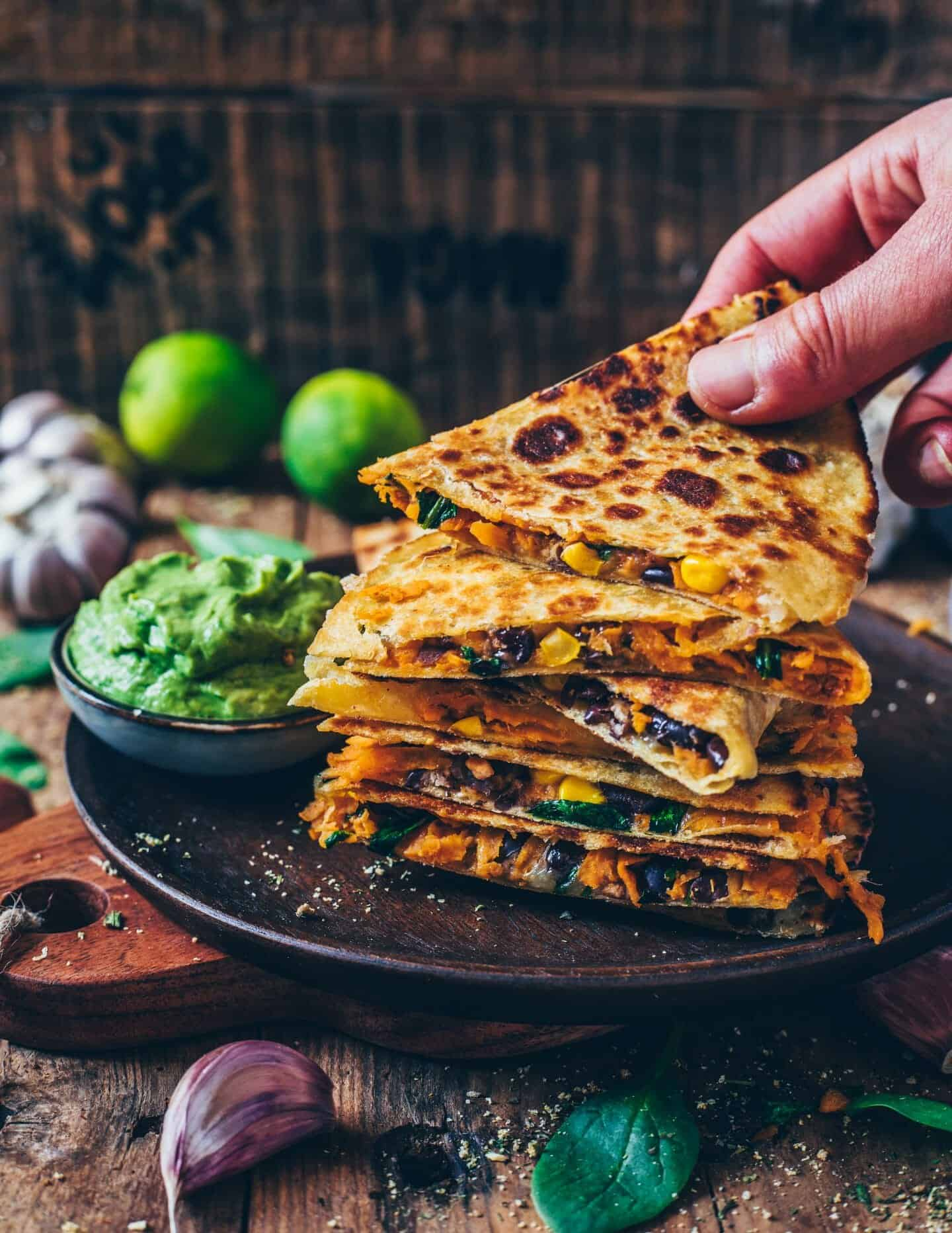 These easy Vegan Sweet Potato Quesadillas loaded with blacks bean, corn and dairy-free cheese make the perfect quick meal or snack. They're gluten-free, healthy, flavorful, cheesy and very simple to make.