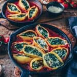 vegan stuffed shells with spinach cream healthy pasta bake recipe