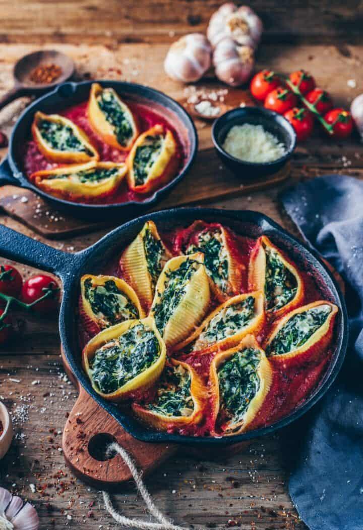 vegan stuffed shells with spinach cream healthy pasta bake recipe