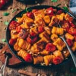 The best recipe for Vegan Sweet Potato Gnocchi with only 3 ingredients. It's so easy to make, gluten-free and incredibly delicious! Serve them crispy pan-fried with oven roasted tomatoes for a perfect comfort meal!