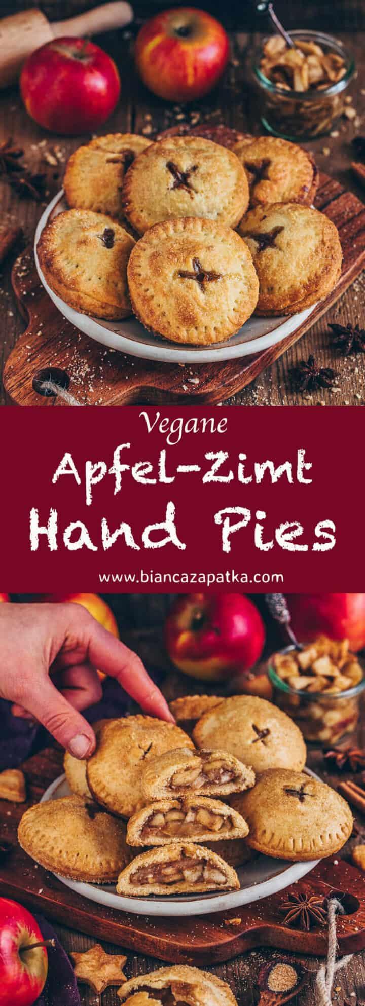 Apfel Hand Pies sind kleine Apfelkuchen mit einer leckeren Apfel Zimt Fuellung. Das Rezept ist vegan, einfach.