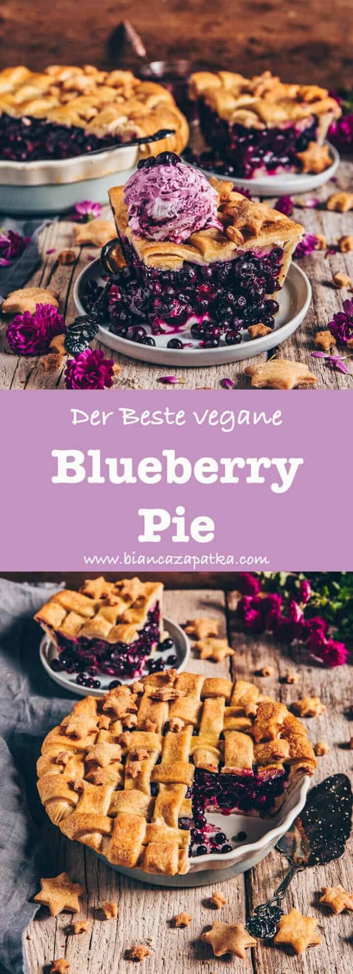 Der beste Blueberry Pie (veganer Blaubeerkuchen / Heidelbeerkuchen)! Eine fruchtig, saftige Blaubeer-Fuellung und ein knusprig, keksiger Muerbeteig. Das Rezept ist einfach zu machen und so koestlich! Ein perfektes Dessert, Nachtisch und Fruehstueck.