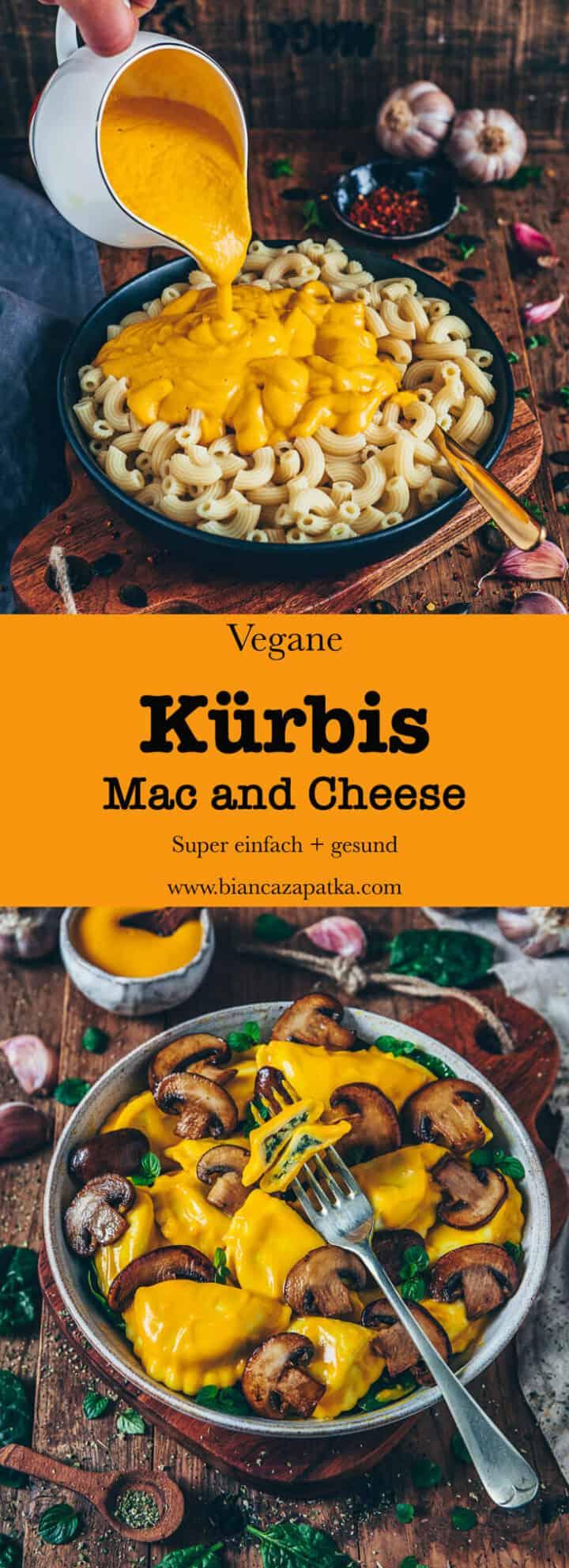 Nudeln mit Kuerbis Kaesesauce, vegane Mac and Cheese, receipt, einfach, gesund