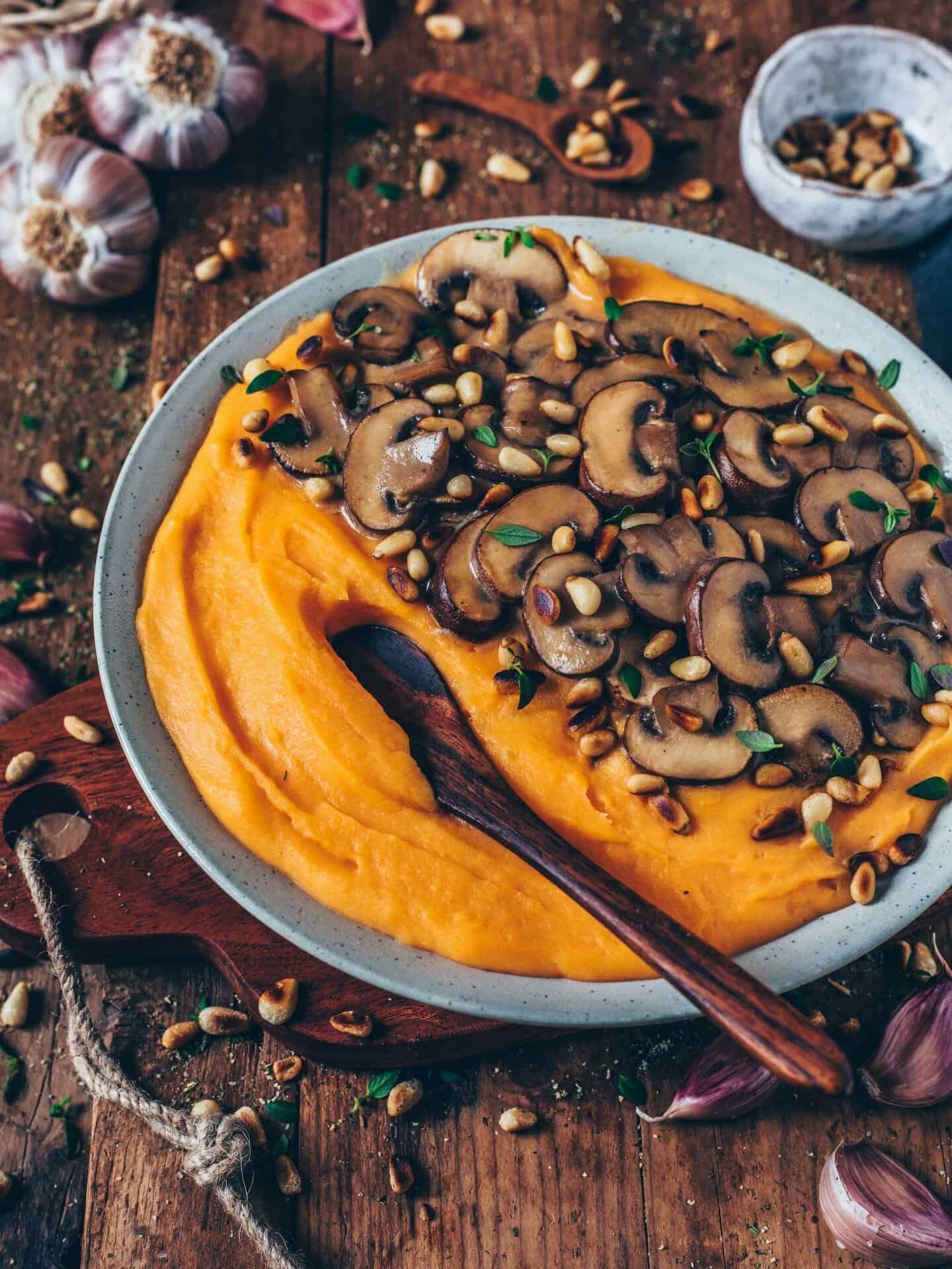 This creamy mashed sweet potatoes with vegan mushroom gravy is very easy to make, healthy, plant-based and so delicious! It's a simple recipe that is comforting, flavorful, hearty and satisfying.