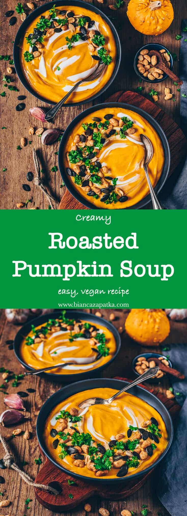 This vegan roasted pumpkin soup is super creamy, delicious and healthy! It's very easy to make, full of pumpkin flavors and the best way to warm up!