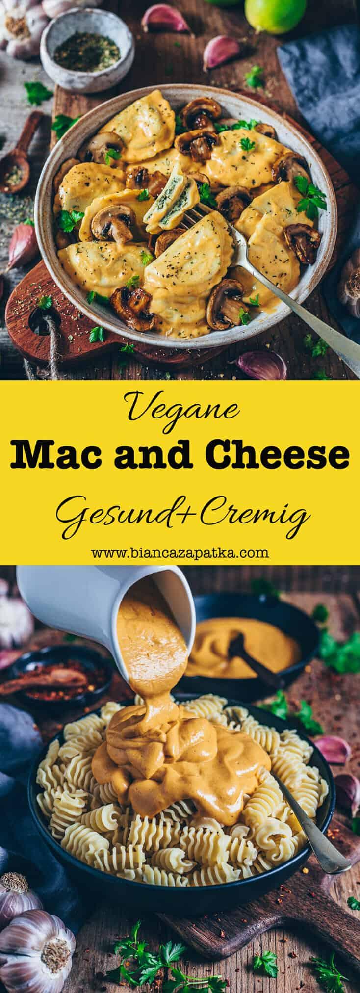 Veganes Mac and Cheese ist gesund, lecker, einfach. Nudeln mit einer cremigen veganen Käsesoße auf Kartoffelbasis. Auch zum überbacken geeignet.