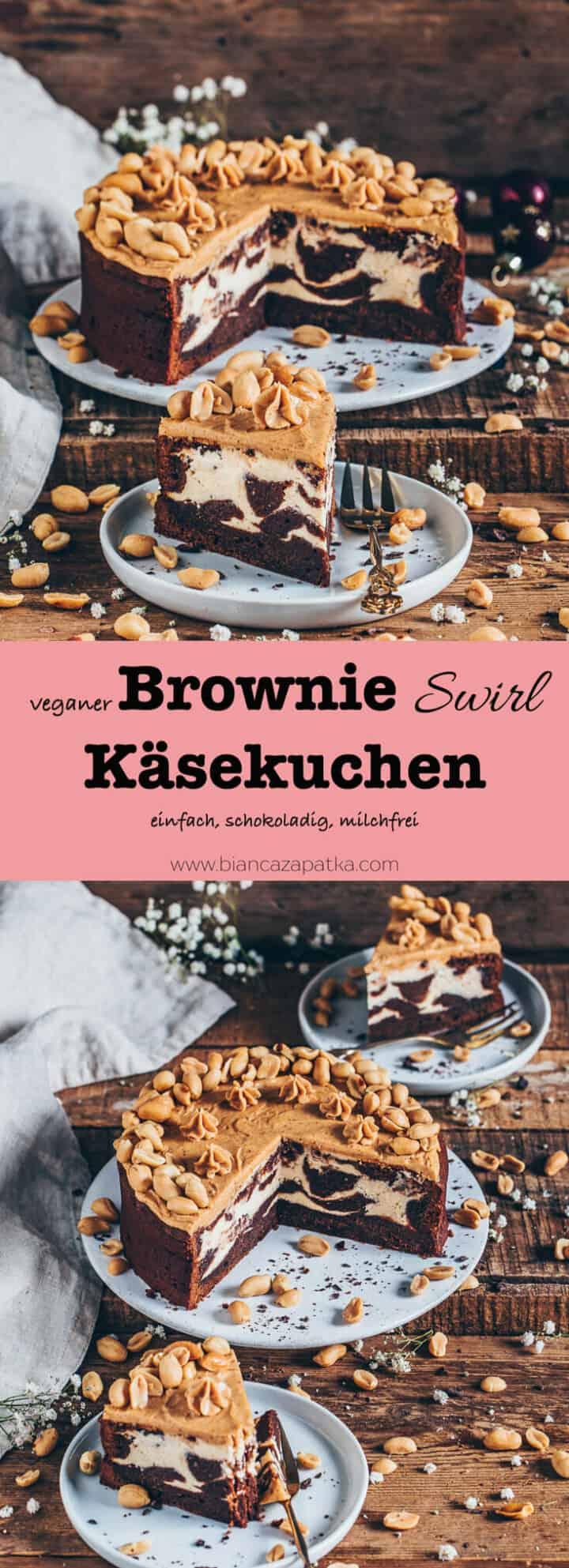 Wenn du schokoladige Brownies und cremigen Käsekuchen liebst, dann wird dieser vegane Brownie-Kaesekuchen (Schokoladenkuchen, Cheesecake Brownies) ganz bestimmt zu deinem neuen Lieblingsdessert! Er ist saftig, schokoladig, glutenfrei, milchfrei, eifrei, lecker und mit einem Erdnussbutter-Frosting bestrichen.