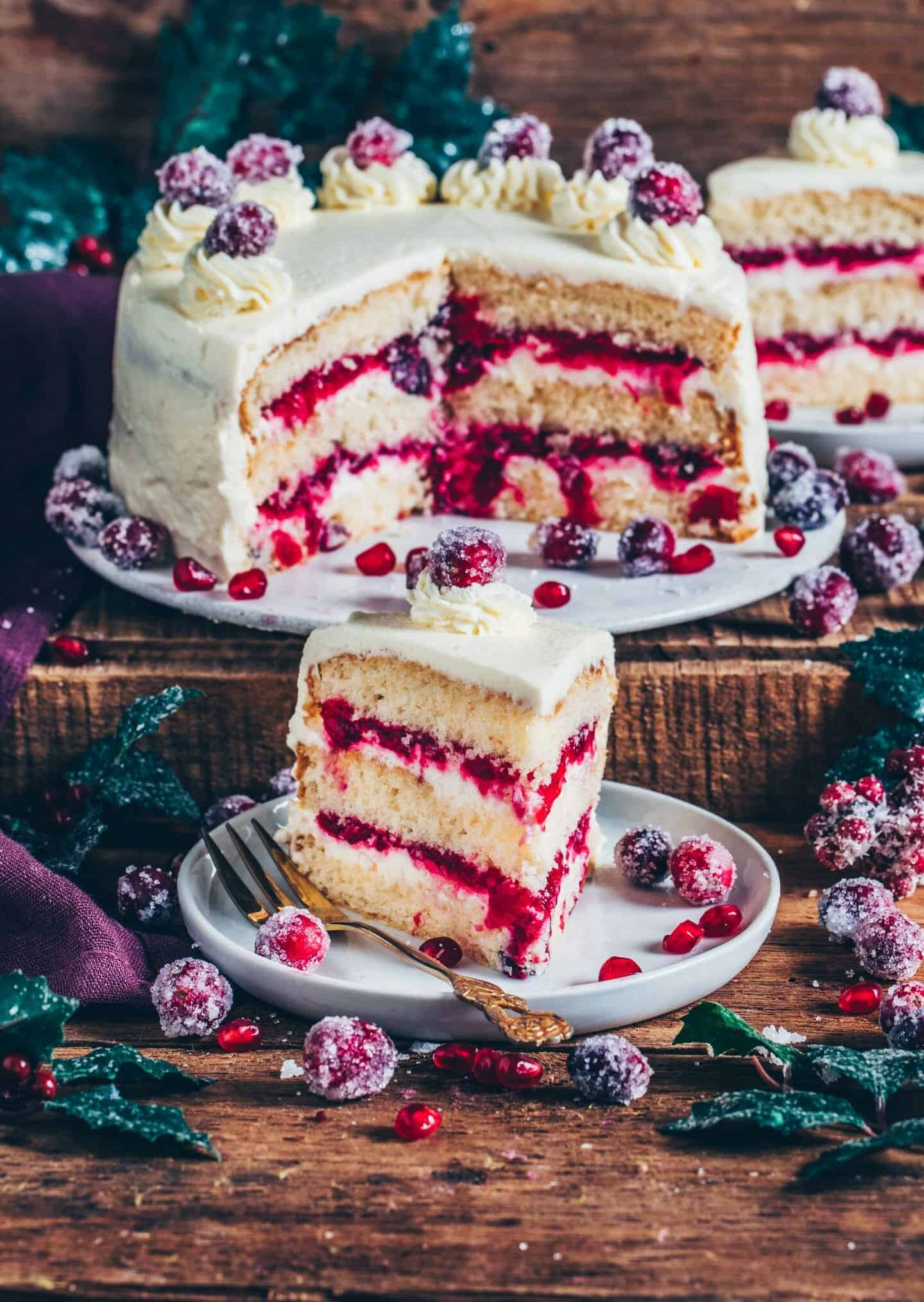 Cranberry-Torte (Vanillekuchen) vegan