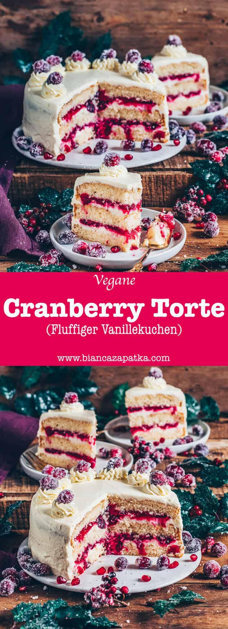 Diese Vegane Cranberry-Torte besteht aus fluffigen Vanillekuchen-Schichten, die mit Cranberry-Kompott und einer sahnigen Creme bestrichen sind. Es ist nicht nur ein köstliches Dessert zu Weihnachten, denn diese Vegane Torte macht garantiert jeden Tag besonders!