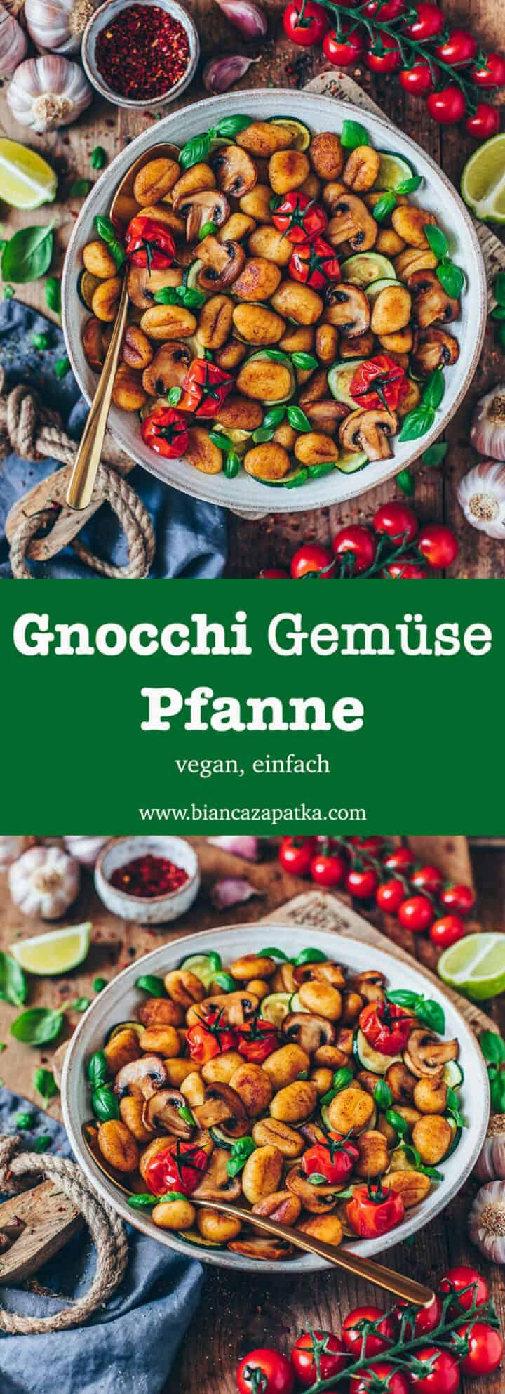 Ein einfaches Rezept für eine schnelle Gnocchi-Gemüse-Pfanne mit Zucchini, Pilzen und Tomaten. Dieses Gericht ist vegan, gesund, super lecker und dazu noch einfach zubereitet! Es ist also ein perfektes Mittag- oder Abendessen.