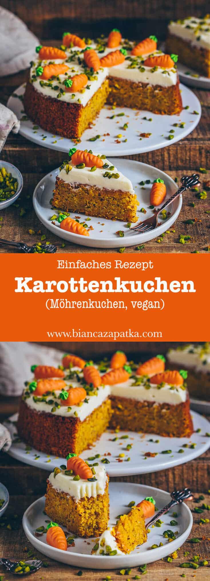 Karottenkuchen (Möhrenkuchen, Rüblikuchen) (vegan, einfach, gesund)