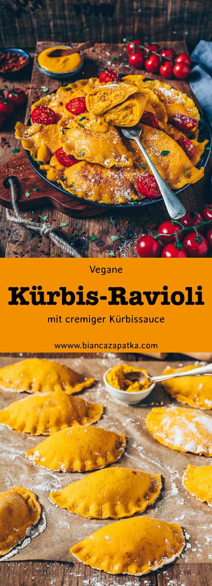 Kürbis-Ravioli mit cremiger Kürbisfüllung (Kürbis-Maultaschen) und Kürbis-Sauce für Nudeln