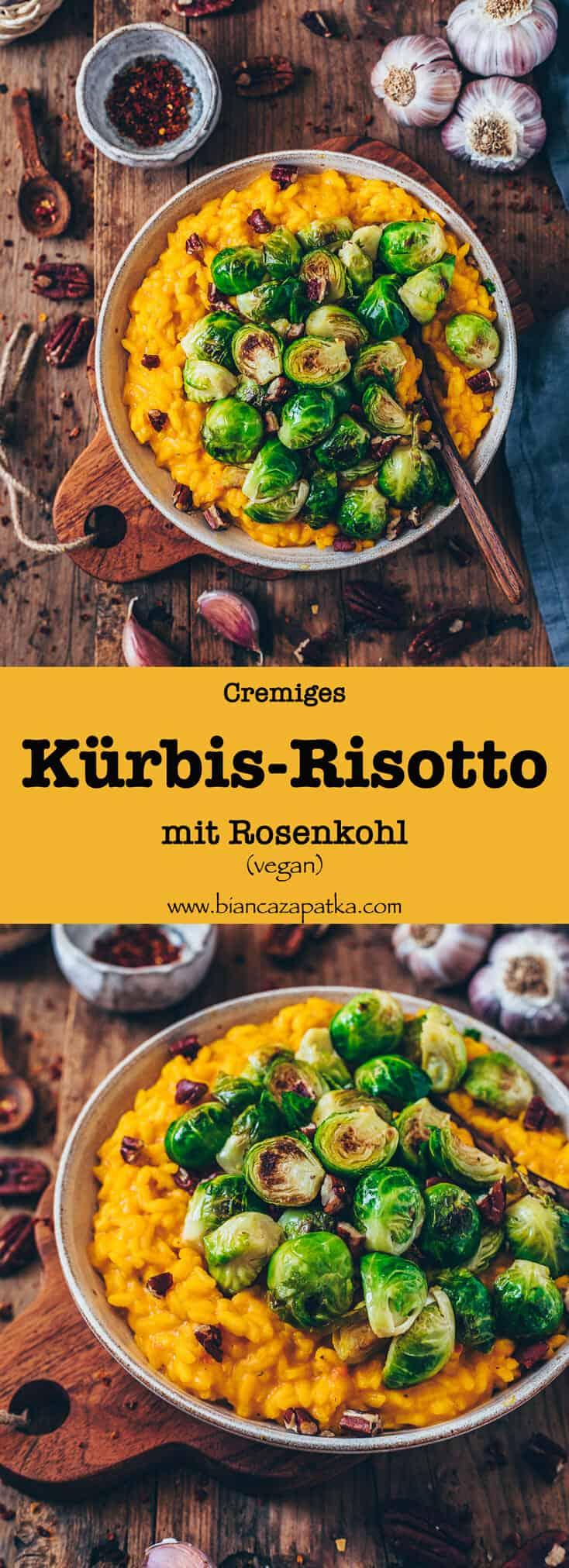 Dieses Vegane Kürbis-Risotto mit Rosenkohl ist das perfekte Wohlfühlessen im Herbst. Es ist gesund, glutenfrei und unglaublich köstlich! Das Rezept ist einfach und in nur 30 Minuten fertig.