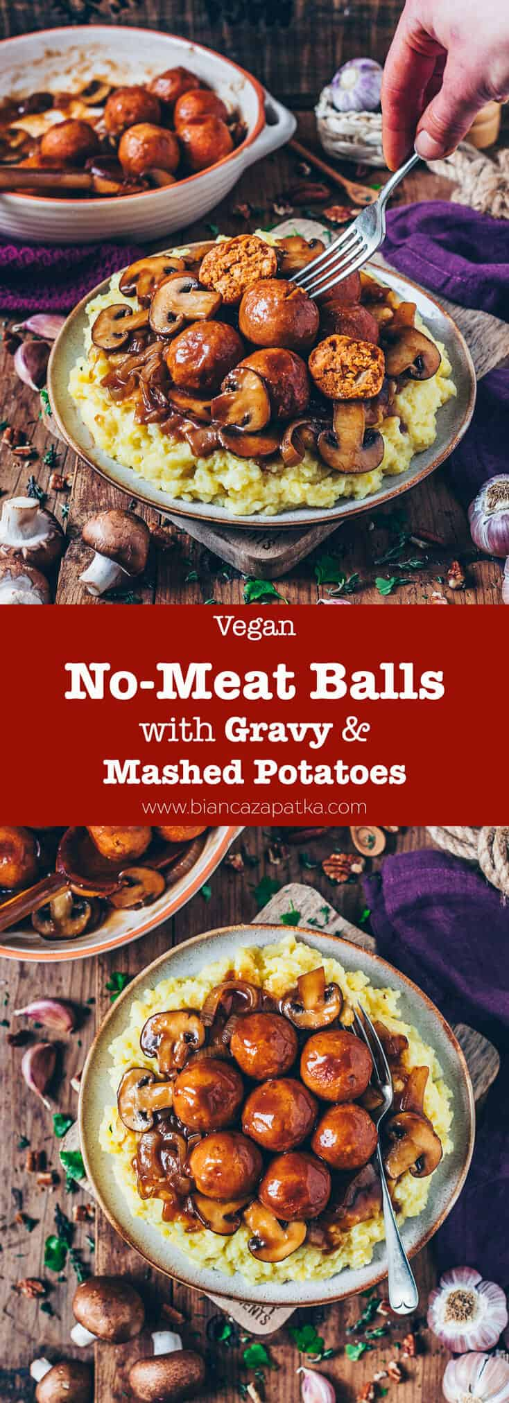 These easy to make No-Meat Balls (Vegan Meatballs) are the ultimate comfort food! Serve them over Mashed Potatoes and drench them in Vegan Gravy for a perfect Christmas dinner or any time!