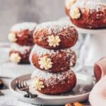 An easy recipe for Pumpkin Doughnuts (Stuffed Vegan Donuts) with vanilla cream filling. They are soft, moist, delicious and can either be baked in the oven, making them healthier, or deep-fried. Perfect for New Year's Eve, Carnival or any other days.