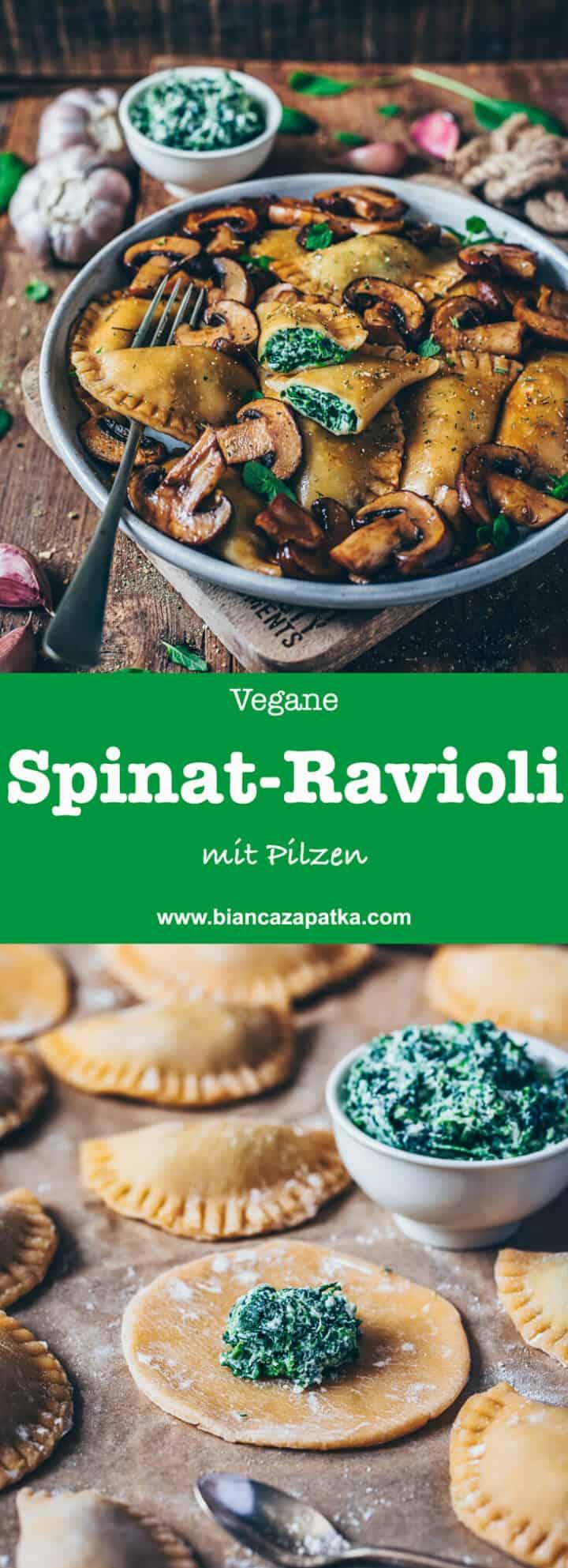 Rezept für vegane Ravioli mit Spinat und Pilzen - einfach, lecker und gesund