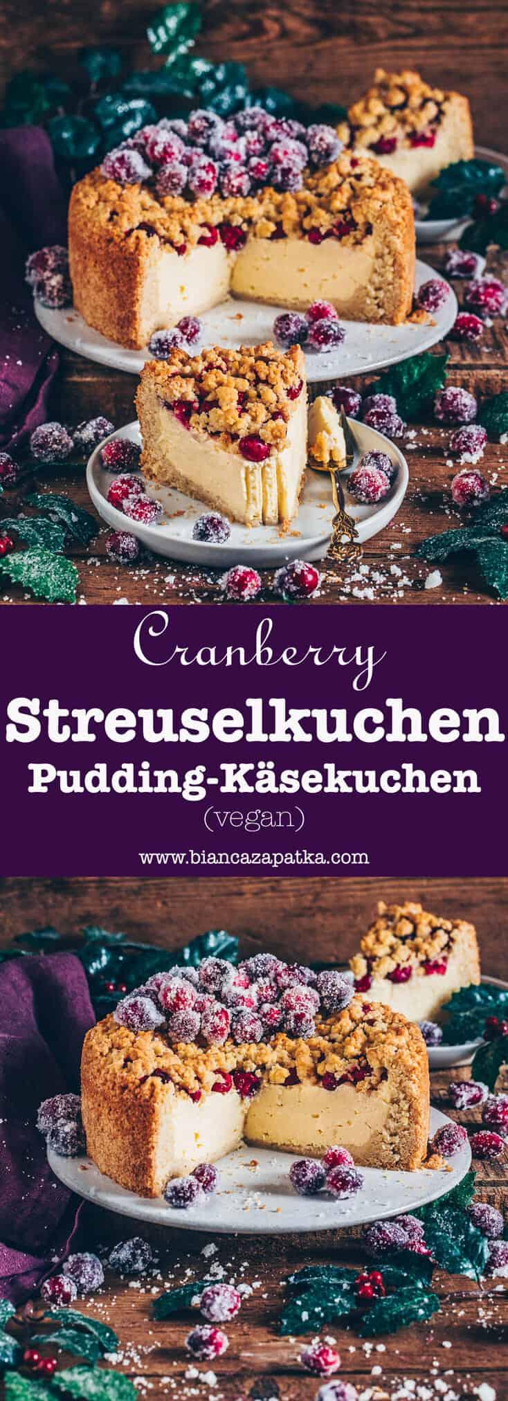 Dieser vegane Cranberry Streuselkuchen sieht nicht nur schön festlich aus, denn er schmeckt auch super lecker! Er ist geschichtet mit Pudding-Käsekuchen und garniert mit gezuckerten Cranberries, die den Kuchen zu einem perfekten Dessert zu Weihnachten machen!