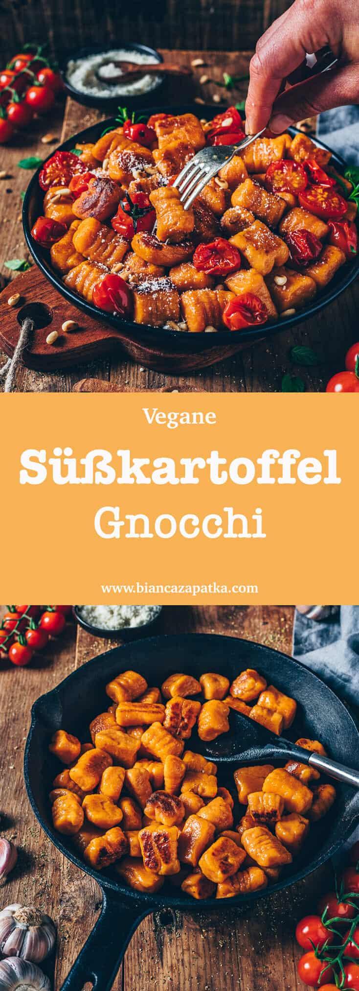 Das beste Rezept für Vegane Süßkartoffel-Gnocchi mit nur 3 Zutaten. Es ist einfach, glutenfrei und unglaublich lecker! Knusprig angebraten und mit ofengerösteten Tomaten serviert, ist es ein perfektes Wohlfühlgericht!