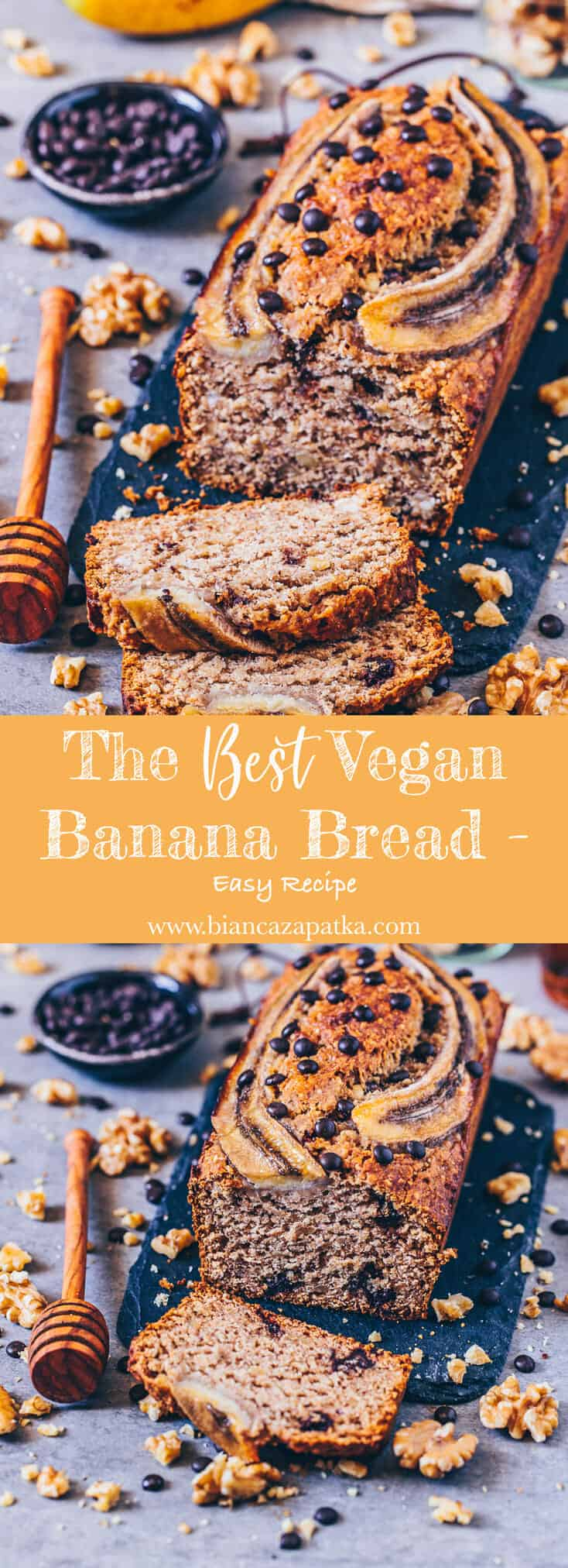 This vegan banana bread is healthy, whole-grain, naturally sweetened and absolutely delicious. It's easy to make and the dough is mixed in only 5 minutes!