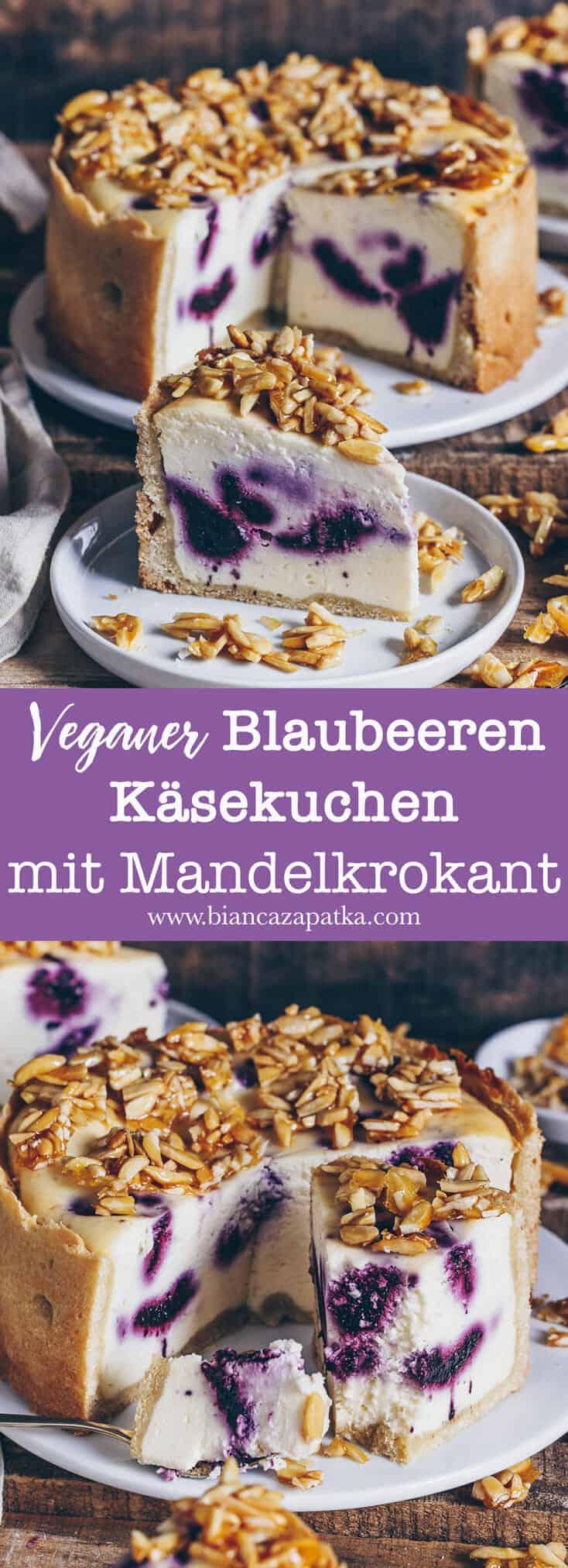 Veganer Blaubeeren Käsekuchen mit knusprigem Mandel-Topping. Dieser Kuchen ist nicht nur ein Hingucker, sondern auch ein wahrer Gaumenschmaus.