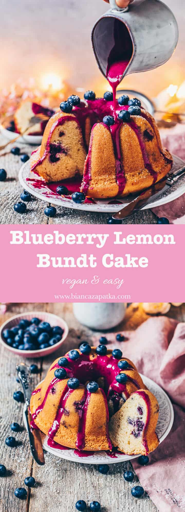 This Blueberry Bundt Cake is a fluffy vegan lemon cake with blueberries and a natural blueberry glaze! This recipe is quick and easy and makes the perfect simple dessert for any tea or coffee party!