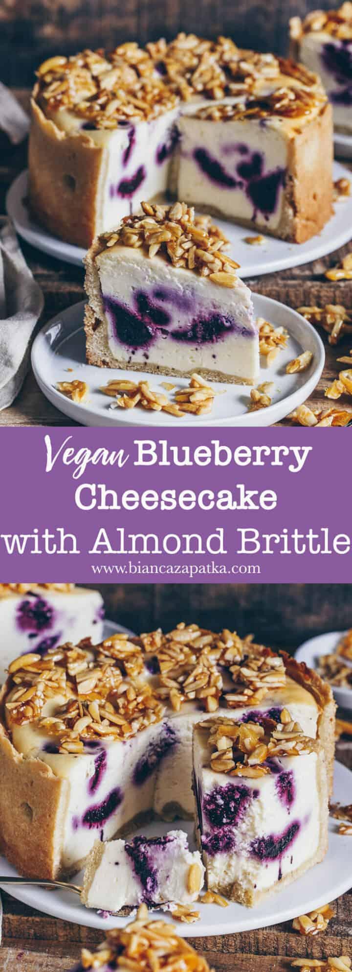 This vegan blueberry cheesecake with crunchy almond topping isn't only a great eye-catcher but also a delicious dessert for any occasion. Easy recipe.