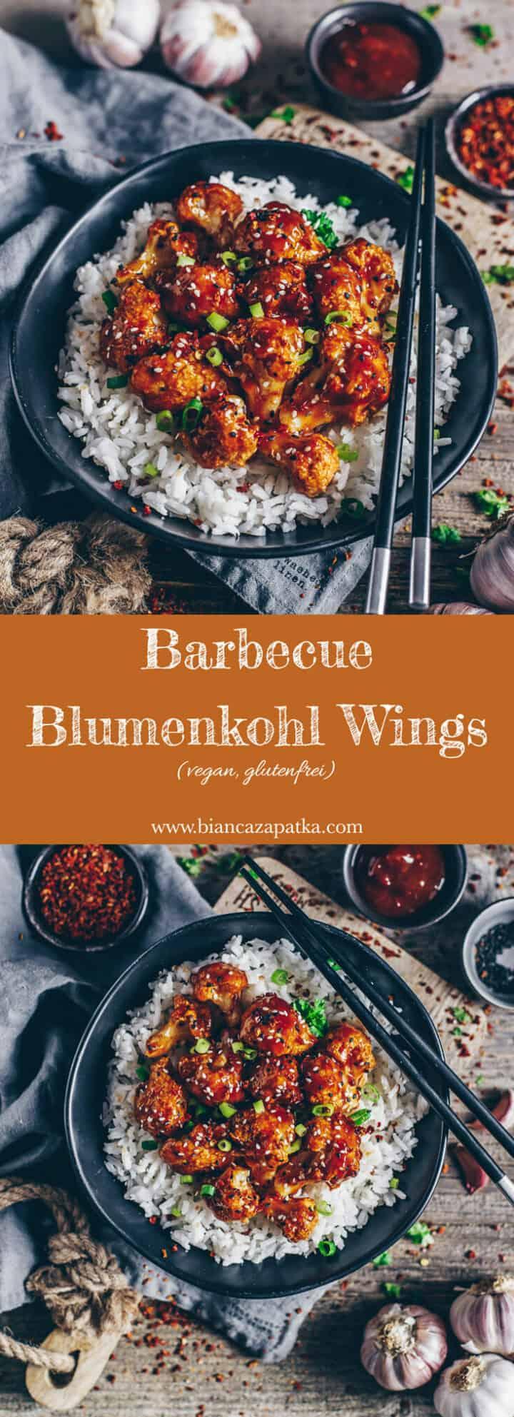 Einfaches Rezept für Barbecue Blumenkohl-Wings mit einer selbstgemachten süß pikant würzigen BBQ Soße - vegan, gesund and glutenfrei - perfekt als Beilage oder Snack!
