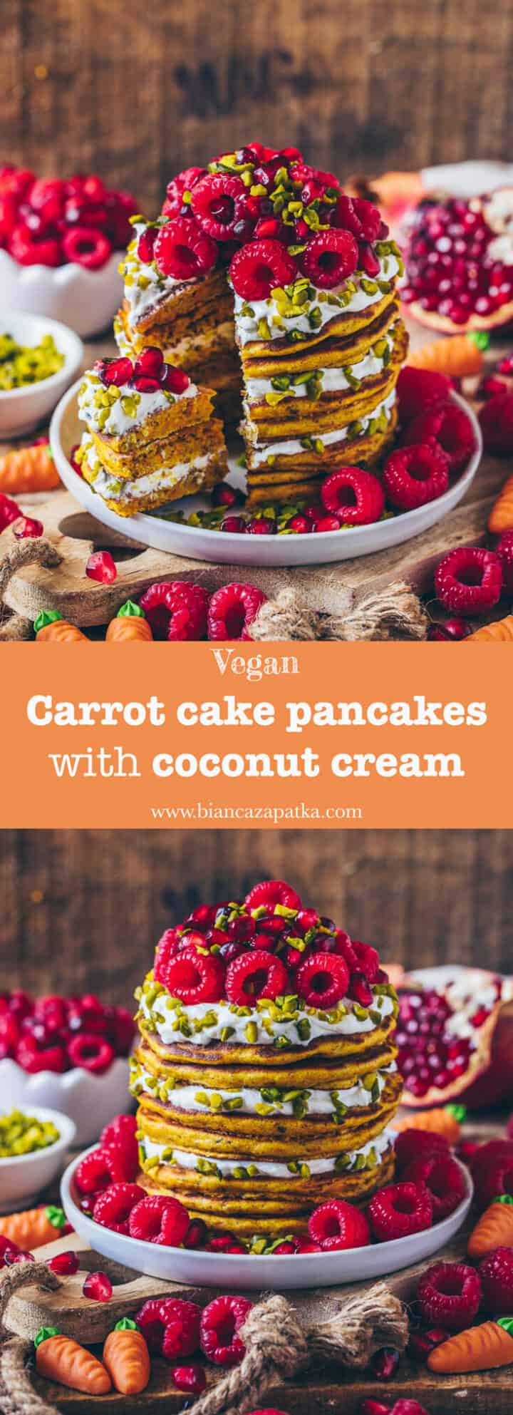 These vegan carrot cake pancakes with coconut cream are a perfect and healthy breakfast and also great for dessert. Packed with moist carrots, flavorful almonds, and a creamy coconut topping, they will even convince picky eaters. They are also suitable for Easter! :-)
