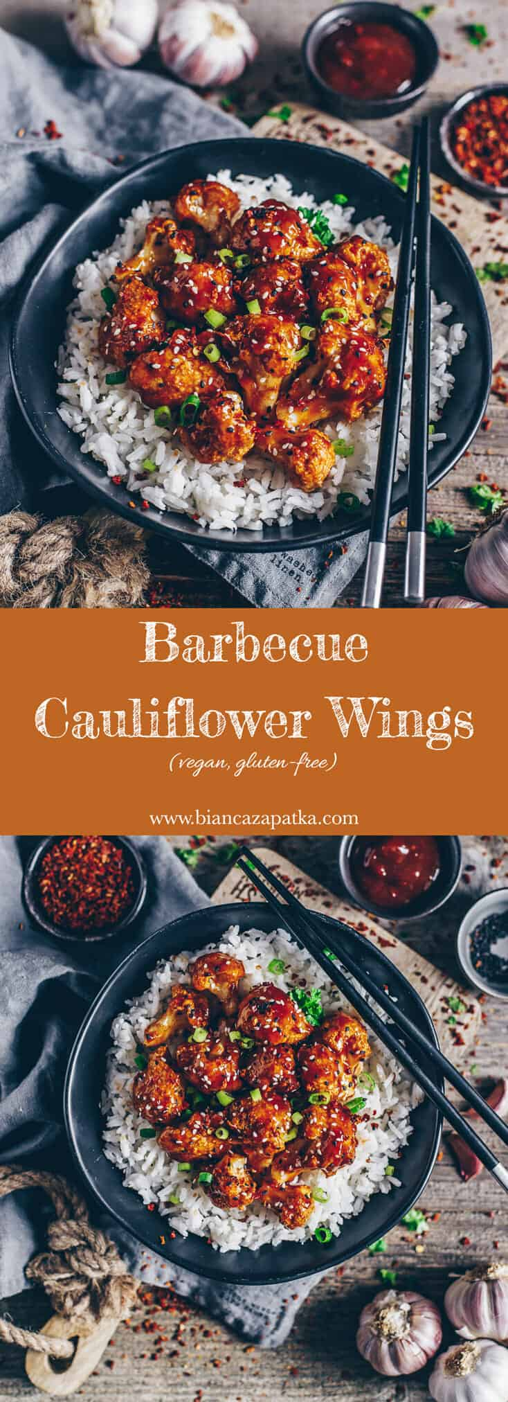 Recipe for easy barbecue cauliflower wings with homemade sweet and spicy bbq sauce - vegan, healthy and gluten-free - perfect as side dish or snack!