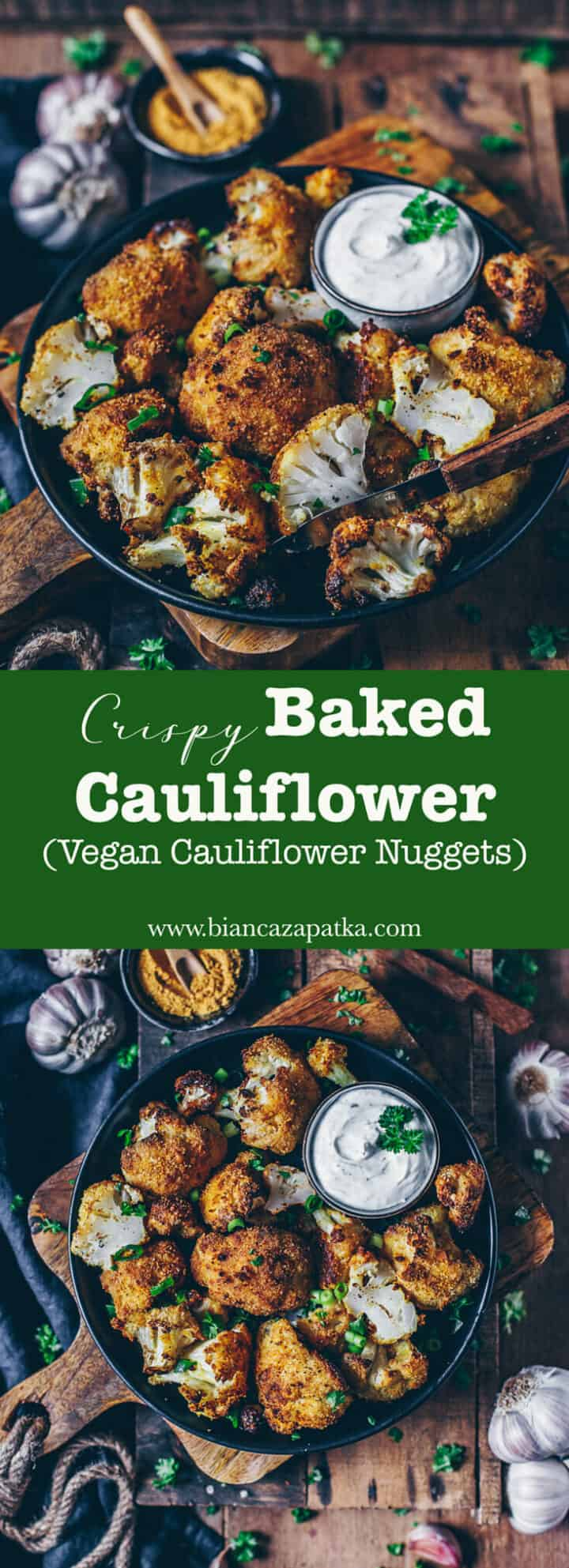 Baked cauliflower with crunchy breading is easy to prepare and a delicious and healthy alternative to traditional nuggets. Perfect as a side dish to any meals or simply as a snack in between! (This recipe is vegan with a gluten-free option)