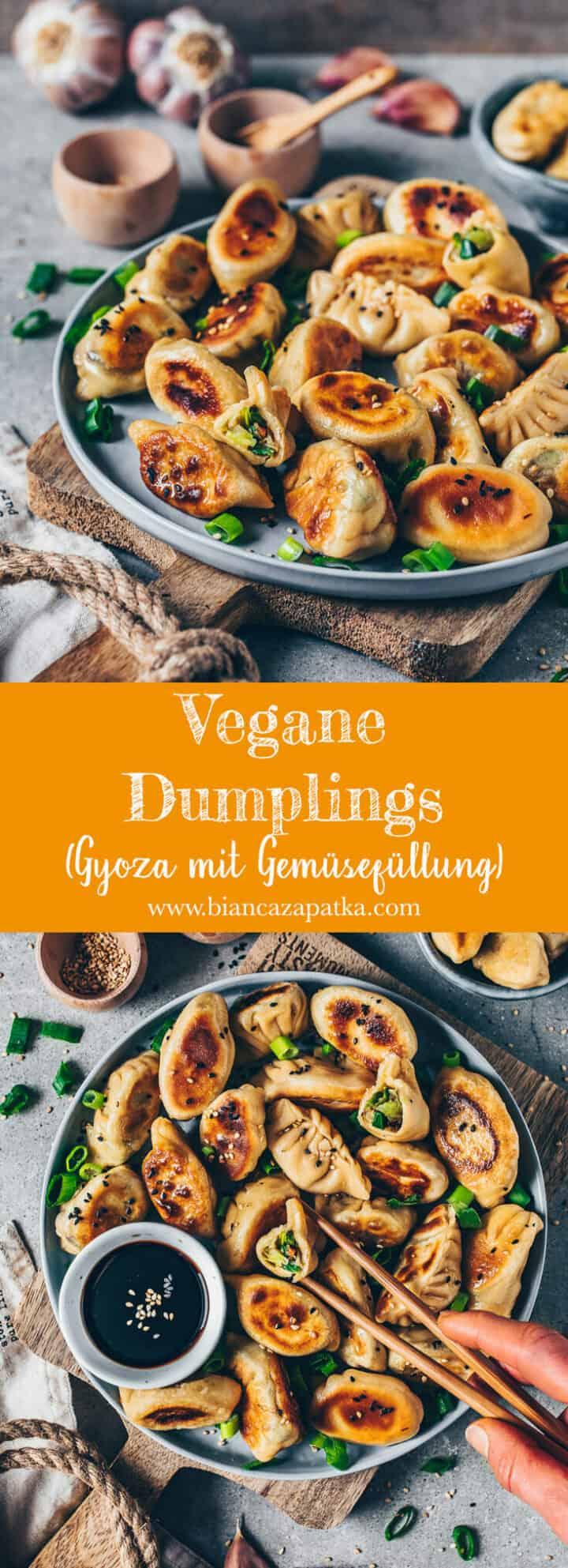 Knusprig gebratene Vegane Dumplings (Gyoza mit Gemüsefüllung) sind japanische Teigtaschen, auch Jiaozi genannt. Sie bestehen aus einem hausgemachten Dumpling-Teig und sind mit gesundem Gemüse gefüllt. Dieses Rezept ist ziemlich einfach und enthält eine Schritt-für-Schritt-Anleitung.