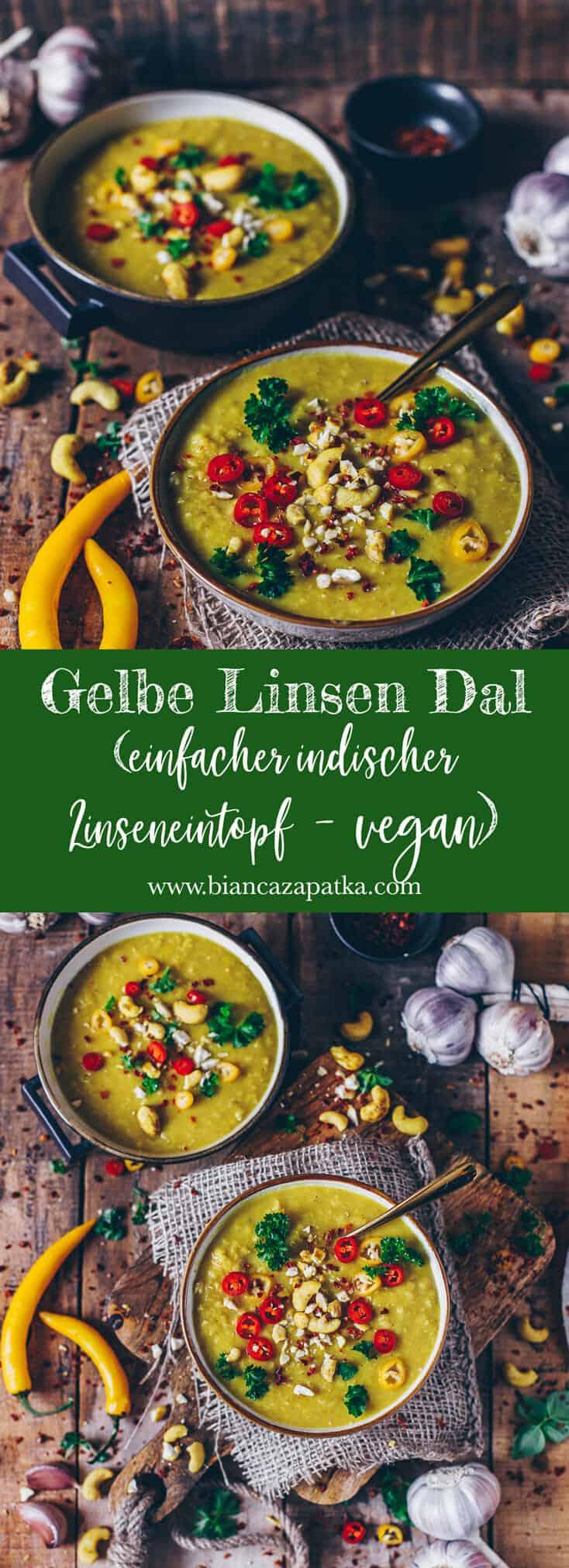 Rezept für ein gesundes und leckeres veganes gelbe Linsen Dal mit Kokosmilch - schnell und einfach zubereitet - perfekt zum Aufwärmen!