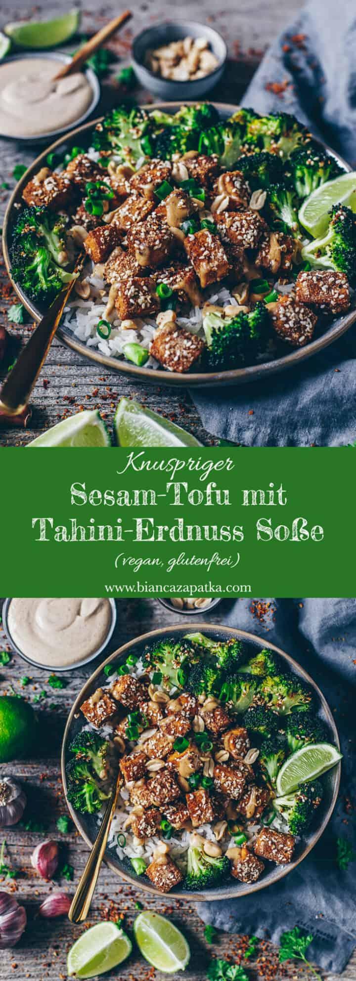 Knuspriger Sesam-Tofu mit einer cremigen hausgemachten Tahini-Erdnuss-Soße, serviert mit Reis und geröstetem Brokkoli. Dieses Rezept ist einfach & schnell zubereitet, vegan, glutenfrei und super lecker! Vollgepackt mit guten Kohlenhydraten, Protein und gesunden Fetten!
