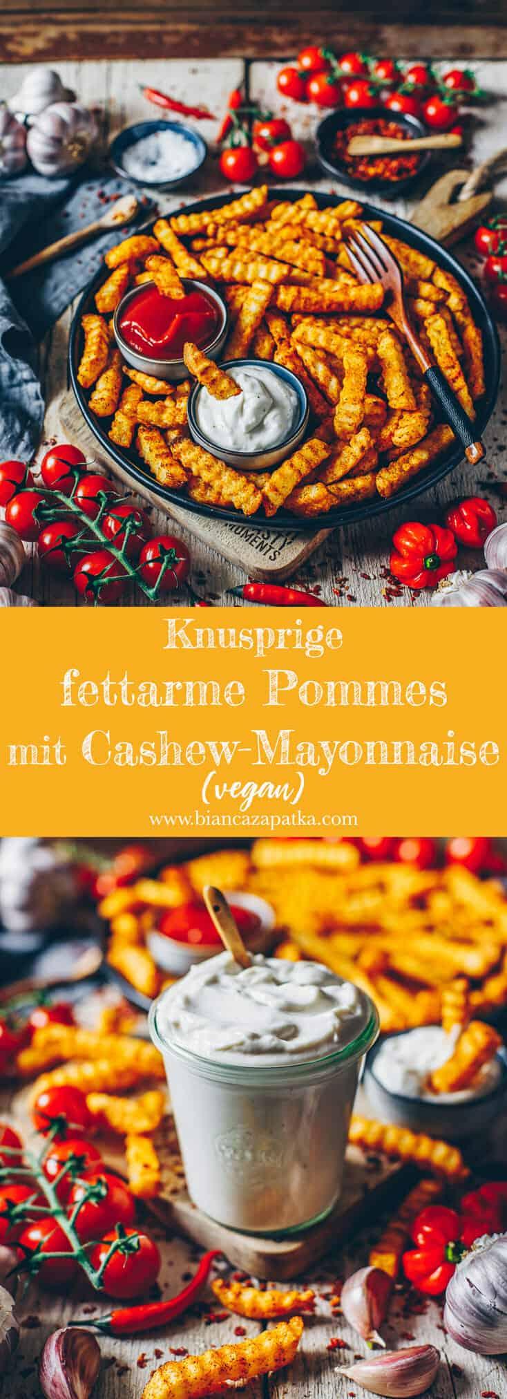 Mit diesem Rezept werden fettarme Pommes Frites garantiert super knusprig. Und mit einer selbstgemachten veganen Mayonnaise aus Cashewnüssen zum dippen, ist es doch ein perfekter gesunder Snack für den gemütlichen Fernsehabend oder auch als Beilage zu einer Hauptmahlzeit.
