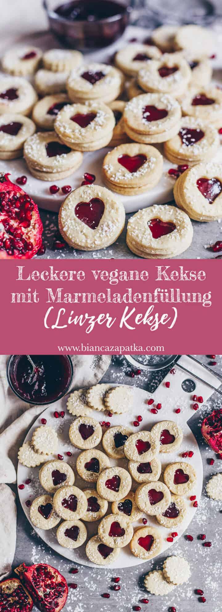 Leckere vegane Kekse, Linzer Kekse, Spitzbuben Plätzchen mit Marmelade, perfekt zum Valentinstag, Muttertag, Weihnachten, einfaches Rezept