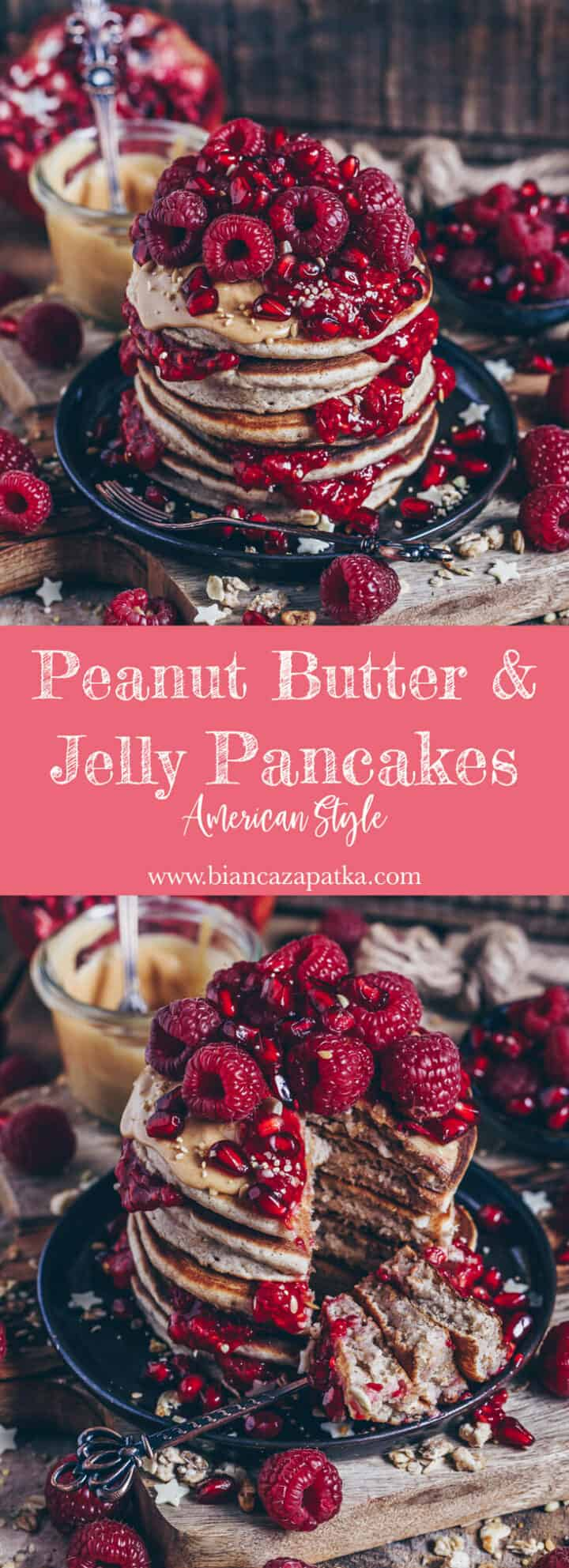 Recipe for fluffy american peanut butter jelly pancakes with coconut taste and vegan option - healthy, delicious, easy and quick to make!