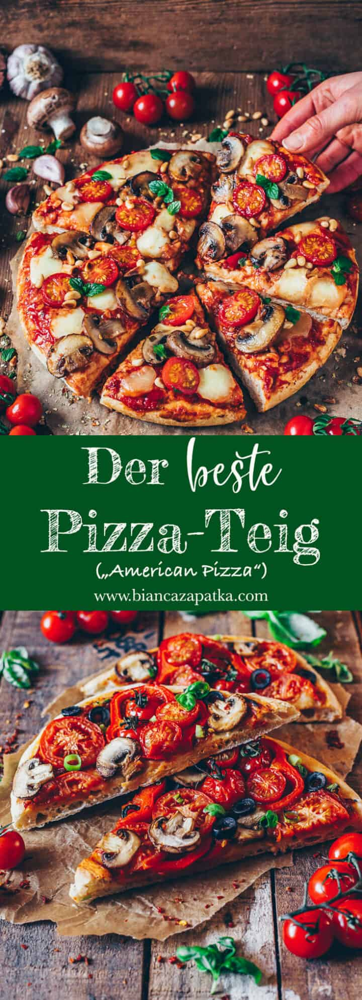 """Das perfekte Rezept für eine dicke, fluffige und knusprige """"American-Pizza""""! Dieser selbstgemachte Pizzateig eignet sich auch super zum Einfrieren."""